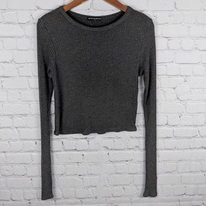 Brandy Melville Gray Long Sleeve Crop Top One Size